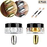 Nail powder Hisight 2 pcs Nail Art Mirror Glitter Chrome Pigment Powder Dust Nail Sequins Gold Silver color Nail Art Tools with Sponge Stick ×2 (Silver Gold)