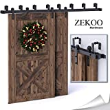 ZEKOO 5-16 FT Bypass Barn Door Hardware Double Door Kit Rustic Black Steel Metal Rail Roller Set Low Ceiling Bracket (15 FT New Style Bypass kit)