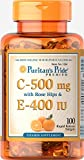 Puritans Pride Vitamin C and E with Rose Hips, 500 Mg/400 Iu, 100 Count