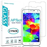 HPTech Galaxy S5 Screen Protector - (2-Pack) for Samsung Galaxy S5 Tempered Glass Screen Protector Bubble Free 9H Hardness with Lifetime Replacement Warranty