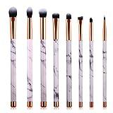 Marble Makeup Brush Set - Marble Eyeshadow Brushes Set Angled Eyeliner Brush Lip Brush Blending Crease Kit - Best Choice 8 Vegan Makeup Brushes - Pencil, Shader, Tapered, Definer