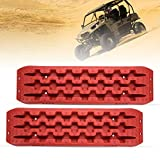 LITEWAY Traction Tracks - 2 Pcs Red Traction Mat Recovery for Sand Mud Snow Track Tire Ladder 4X4 - Traction Boards.