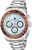 Henry Jay Mens Stainless Steel Multifunction 'Specialty Aquamaster' Watch with GMT-Day-Date and Tachymeter Display