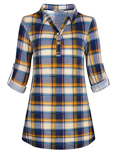 f290fcb5d1489 Cestyle Women s Collared Roll-Up 3 4 Sleeve Casual Loose Lightweight ...