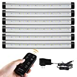 Albrillo LED Under Counter Lighting with Remote Control & Timer, Kitchen Under Cabinet Lighting, Dimmable Closet Light Strips 2000lm, Soft White 3000K, Plug in, 6 Pack