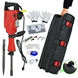 F2C 2200W Heavy Duty Electric Demolition Jack Hammer Concrete Breaker Power Tool Kit 2 Chisel 2 Punch Bit Set W/Case, Gloves