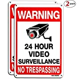 HISVISION Video Surveillance Sign 2-Pack, No Trespassing Metal Reflective Warning Sign,UV Protected & Waterproof, 10'x 7' 0.40 Aluminum Indoor Or Outdoor Use for Home Business CCTV Security Camera