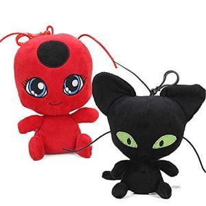 LodeStar 2Pcs/Set Miraculous Ladybug Cat Plagg & Tikki Noir Plush Toys Lady Bug Adrien Marinette Stuffed Animal Doll 51ri nRbH4L