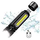 USB Rechargeable Tactical Flashlight, LED Handheld Flashlight with Side Light and Magnet,Built-in 18650 Battery,Zoomable,4 Modes,IP65 Water Resistant,for Camping,Hiking,Emergency and Daily Use