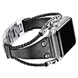 Secbolt Leather Bands Compatible Apple Watch Band Series 4 40mm, Series 3/2/1 38mm, Double Twist Handmade Vintage Natural Leather Bracelet Replacement Bracelet Straps Women Black