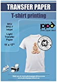 PPD Inkjet Iron-On Light T Shirt Transfer Paper 11 x 17' Pack of 50 Sheets (PPD007-50)