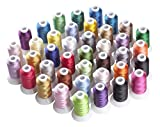 Simthread Brother 40 Color Polyester Embroidery Machine Thread Kit for Brother Babylock Janome Singer Husqvarna Bernina Embroidery and Sewing Machines