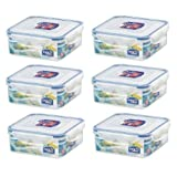 (Pack of 6) LOCK & LOCK Airtight Square Food Storage Container 29.41-oz / 3.68-cup