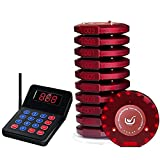 NADAMOO Restaurant Pager System with 10 Coaster Pager Wireless Paging System Calling System Portable Rechargable Restaurant Buzzers with Numeric Keypad Transmitter