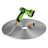 BEAULIFE New 304 Stainless Steel Metal Garden Hose with 8 Functions Metal Garden Hose Nozzle 75ft|Flexible, Portable & Lightweight - No Kink, Tangle & Puncture Resistant