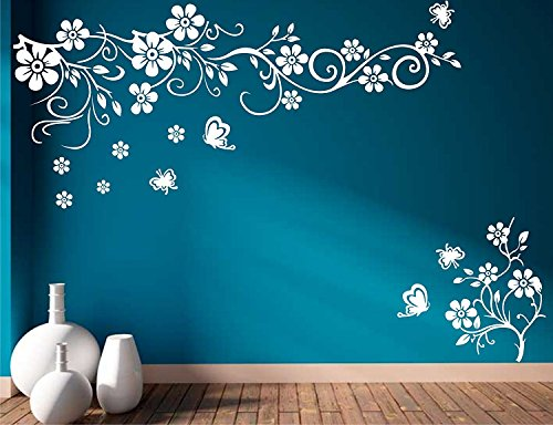 Sticker Studio Flower with Butterfly Wall Stickers for Living Room, Bedroom, Office (Vinyl, Standard, White) 149