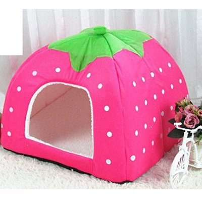 Cute Soft Sponge Strawberry Pet Cat Dog House Bed Warm Cushion Basket Size:S ( 10.2 x 10.2 x 11 inches )