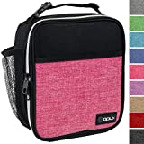 OPUX Premium Insulated Mini Lunch Bag for School | Work Lunch Box for Adult Men, Women | Soft Reusable Cooler Bag with Leakproof Liner | Compact Lunch Pail for Office (Heather Pink)