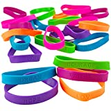 Kicko 24 Rubber Bracelets with Sayings 8 Inches Diameter, Wristband, Assorted Colors - Dream, Love, Courage, Hope, Faith, Strength - for Kids, Teens, Adults, Fashion, Prize, Gift, Party Favor
