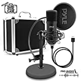 USB Microphone Podcast Recording Kit - Audio Cardioid Condenser Mic w/ Stand, Gooseneck Pop Filter, For Gaming, Desktop, Streaming, Studio, Youtube, Works w/ Windows PC, Laptop, Mac - Pyle PDMIKT100