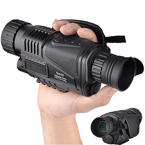 5x40mm Infrared Digital Night Vision-HD Monocular with 1.5 Inch TFT LCD and Camera&Camcorder Function Take Photos and Videos Up to 350m/1150ft Detection Distance-Come with a Rechargeable Battery
