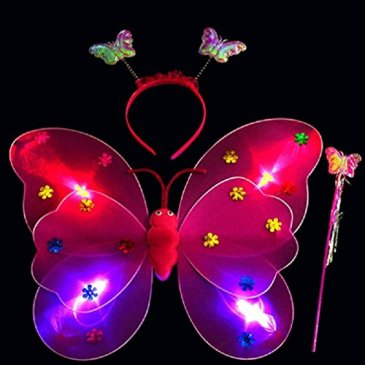 3PCS Girls Led Flashing Light Up Fairy Butterfly Wings Wand