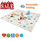 Folding Play Mat | BPA Free Non-Toxic Foam Baby Care Baby Playmat (6.6FT x 5FT) 0.4IN Thick Extra Large Reversible Crawling Mat Portable Toddlers Kids Waterproof Non-Slip Outdoor (Love of Elephant)