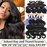 Bfary Hair Peruvian Virgin Body Wave Human Hair 4 Bundles, 70Gram/Piece, Totally 280Gram(20'' 20'' 22'' 22'',Natural Color), 8A 100% Unprocessed Body Wave Hair Extension Weft for Black Women