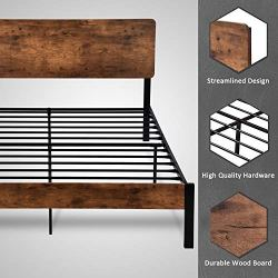 Amolife Queen Bed Frame with Wood Headboard/Heavy Duty Platform Metal Bed Frame with Footboard/Mattress Foundation/Strong Slat Support/No Box Spring Needed