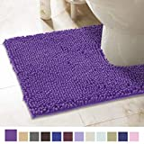 ITSOFT Non-Slip Shaggy Chenille Soft Microfibers Toilet Contour Bathroom Rug with Water Absorbent, Machine Washable, 21 x 24 Inch U-Shaped Lilac