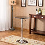 Product review for Roundhill Furniture Adjustable Height Wood and Chrome Metal Bar Table, Black