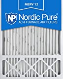 Nordic Pure 20x25x4/20x25x5 (19 7/8 x 24 7/8 x 4 3/8) Honeywell FC100A1037 Replacement Pleated AC Furnace Air Filters MERV 12, Box of 2