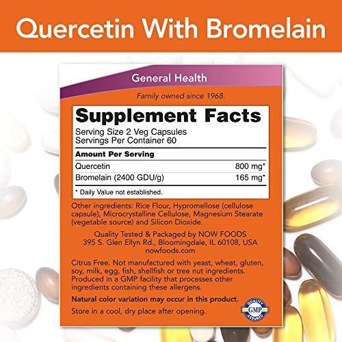 Now Foods, Quercetin con Bromelain, 120 Capsule vegetariane, senza glutine, senza soia
