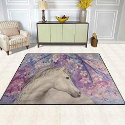 Horse Cherry Blossom Area Rug