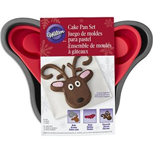 Holiday Cake Pan Set W/Silicone Cake Mold-Reindeer W/Antler Mold 51s1ZK 2Bz4WL