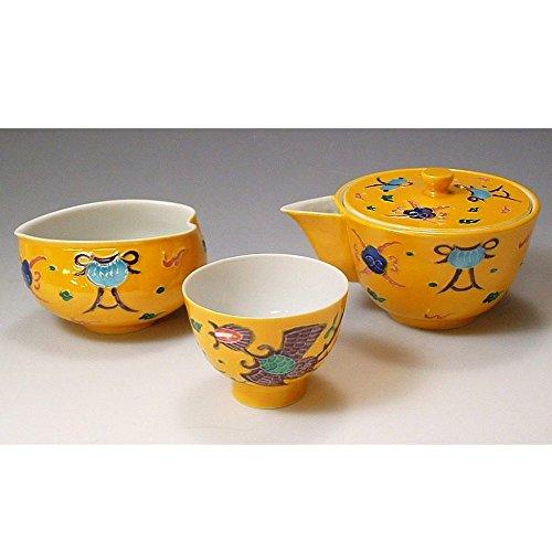 Kiyomizu-kyo yaki ware. Japanese Sencha teaset of kyusu and cups Chinese phoenix with wooden box. Porcelain. kymz-JKK077