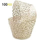 GOLF 100Pcs Cupcake Wrappers Artistic Bake Cake Paper Filigree Little Vine Lace Laser Cut Liner Baking Cup Wraps Muffin CaseTrays for Wedding Party Birthday Decoration (Beige)