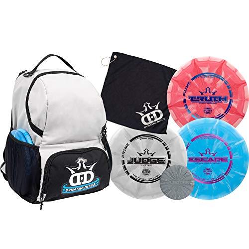 Dynamic Discs Disc Golf Starter Set   Gray/Black Cadet Disc Golf Bag Included   17+ Disc Capacity   Prime Burst Disc Golf Frisbee Set Included   Putter, Midrange, Driver   170g plus   Colors will vary
