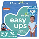 Pampers Easy Ups Pull On Disposable Potty Training Underwear for Boys, Size 4 (2T-3T), 74 Count, Super Pack (Packaging May Vary)