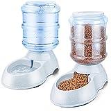 URWOOW 1 Gallon Pet Café Pet Waterer Water Station Fountain Dispenser and 1 Gallon Self-Dispensing Pet Feeder Food Dispenser
