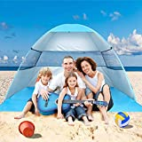 Wilwolfer Beach Tent Pop Up Sun Shelter Plus Cabana Automatic Canopy Shade Portable UV Protection Easy Setup Windproof Stable with Carry Bag for Outdoor 3 or 4 Person (Blue)