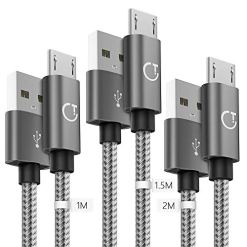Gritin Micro USB Cable,[3-Pack/1M+1.5M+2M] Nylon Braided Extremely Durable Micro USB Sync Cable for Nexus, LG, Sony,PS4, HTC, Motorola, Kindle, Nokia and More