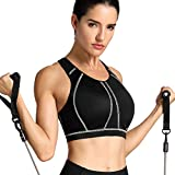 SYROKAN Women's High Impact Full Support Wire Free Padded Active Sports Bra Black 36DD