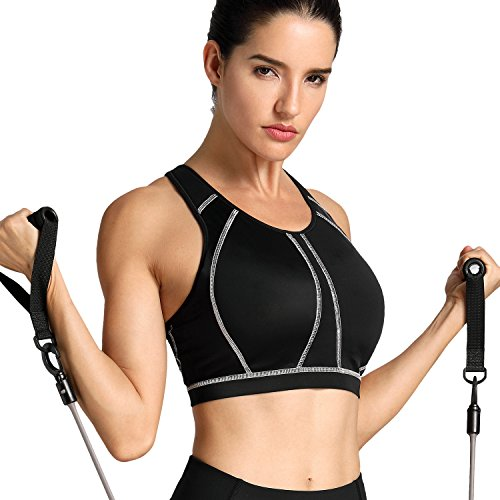 SYROKAN Women's High Impact Full Support Wire Free Padded Active Sports Bra Black 38D
