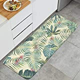 Tropical Leaves Pattern Stanley Wong Yellow Anti-Fatigue Kitchen Mat Advanced Washable PVC Desk Mat Suitable for Bathroom