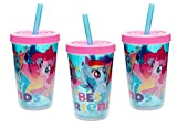 Zak Designs [3-Pack] My Little Pony Best Friends 13oz Double Wall Tumbler Drink Cup with Lid & Straw