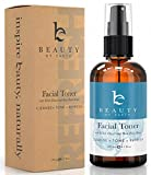 Facial Toner with Organic and Natural Witch Hazel Rose Water Astringent - Best Hydrating and Clarifying Face Spray for Daily Use, No Alcohol or Oil, Skin Cleansing for Men and Women, 4oz