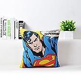 "Blue Red Superman Print Pillow Case Movie Superhero Throw Pillow Cover Comic Hero Superman Logo Pillowcase Decorative Kids Cartoon Printed Sofa Cushion Covers, Soft Comfy Cotton Linen, 18""x18"""