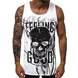 MIS1950s Men's Gym Tank Tops Bodybuilding Fitness Vest Top Skull Print Slim Sleeveless Vest Blouse Comfortable Top