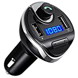 (Upgraded) Bluetooth FM Transmitter for Car, Wireless FM Transmitter Radio Adapter Car Kit, with Dual USB Charging Ports, Hands Free Calling for iPhone, Samsung, etc.